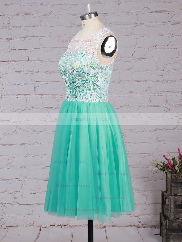 A-line Scoop Neck Lace Tulle Short/Mini Prom Dresses #Favs020102213