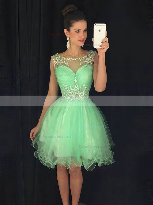 Cute A-line Scoop Neck Tulle with Beading Short/Mini Prom Dresses #Favs020102402