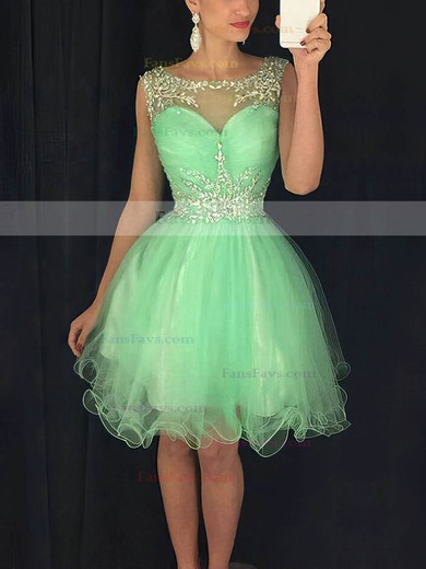 A-line Scoop Neck Short/Mini Tulle Prom Dresses with Beading Ruffle #Favs020102402
