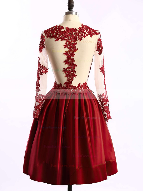 A-line Scoop Neck Short/Mini Tulle Satin Prom Dresses with Appliques Lace Ruffle #Favs02016430