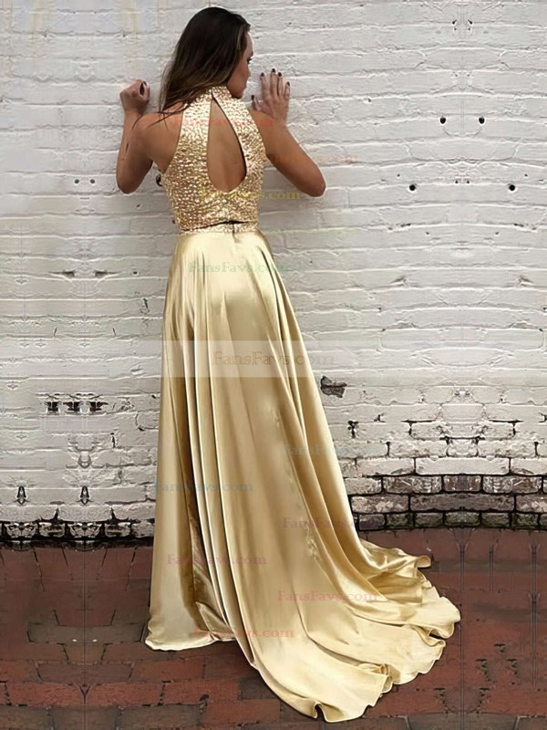 A-line High Neck Sweep Train Silk-like Satin Prom Dresses with Beading #Favs020104449