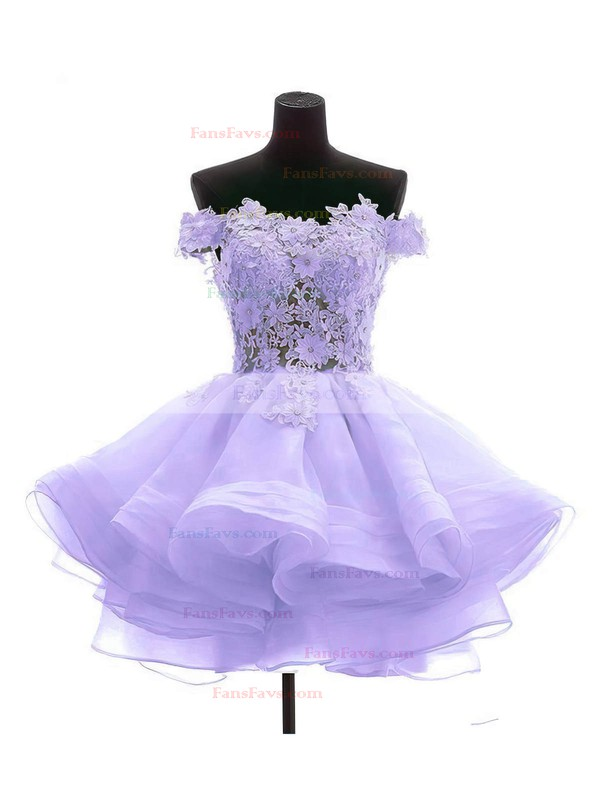 Princess Off-the-shoulder Short/Mini Organza Tulle Prom Dresses with Appliques Lace #Favs020102801