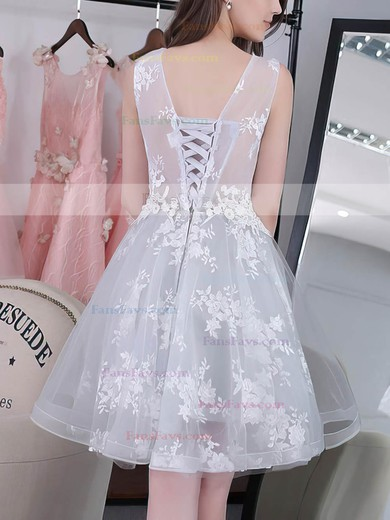 A-line Scoop Neck Tulle Knee-length Appliques Lace Sweet Prom Dresses #Favs020102858