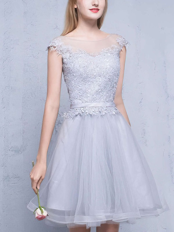 A-line Scoop Neck Tulle Short/Mini Appliques Lace Pretty Prom Dress #Favs020102753