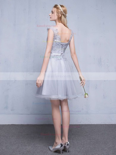 A-line Scoop Neck Short/Mini Tulle Prom Dresses with Appliques Lace Sashes #Favs020102753
