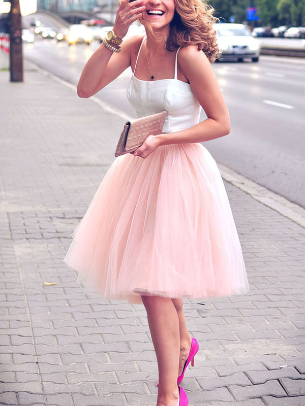 A-line Sweetheart Satin Tulle Knee-length Prom Dresses #Favs020102755