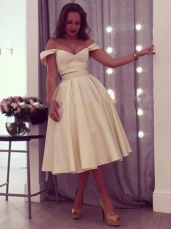 Ball Gown Off-the-shoulder Satin Tea-length Prom Dresses #Favs020103042