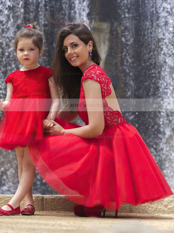 New Short/Mini Red Tulle Lace Ruffles Scoop Neck Prom Dresses #Favs02018746