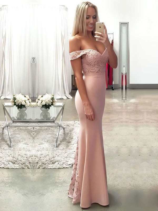 Trumpet/Mermaid Off-the-shoulder Floor-length Lace Silk-like Satin Prom Dresses with Ruffle #Favs020104503