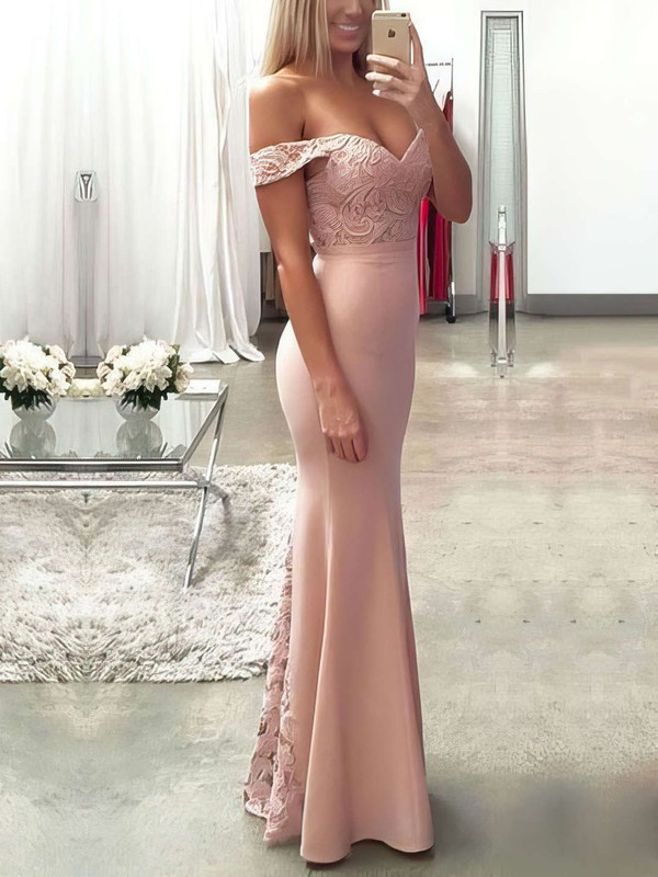 Trumpet/Mermaid Off-the-shoulder Lace Silk-like Satin Floor-length Sashes / Ribbons Prom Dresses #Favs020104503