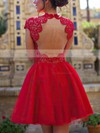 A-line Scoop Neck Short/Mini Tulle Lace Prom Dresses with Ruffle Lace #Favs02019873