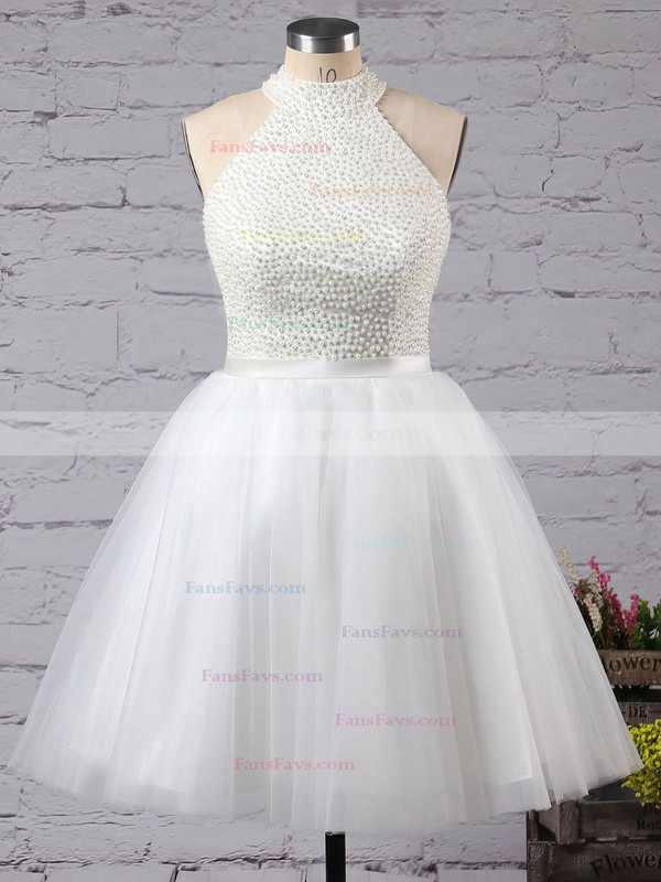 A-line High Neck Short/Mini Tulle Prom Dresses with Beading Sashes #Favs020102515