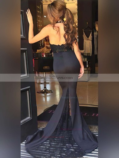 Trumpet/Mermaid Halter Silk-like Satin Sweep Train Beading Prom Dresses #Favs020104514