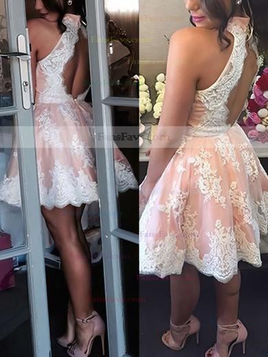 A-line High Neck Tulle Short/Mini Appliques Lace Prom Dresses #Favs020102525