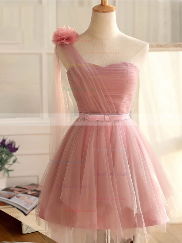 Princess One Shoulder Short/Mini Tulle Prom Dresses with Sashes Flowers #Favs020102533