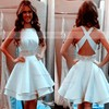 A-line Scoop Neck Silk-like Satin Short/Mini Tiered New Backless Homecoming Dresses #Favs020102536