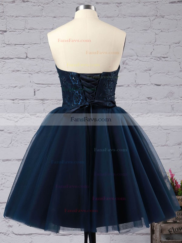Ball Gown Sweetheart Tulle Short/Mini Sequins Simple Black Homecoming Dresses #Favs020102554