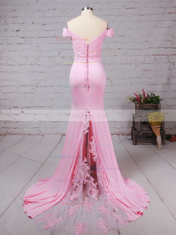 Trumpet/Mermaid Off-the-shoulder Sweep Train Silk-like Satin Prom Dresses with Appliques Lace Sashes #Favs020104517