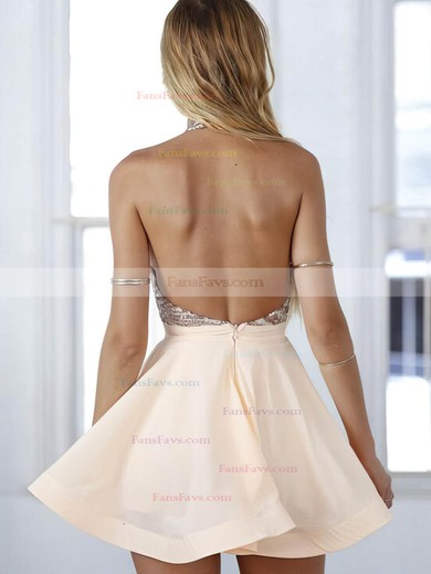 Casual A-line Halter Chiffon Short/Mini Sequins Backless Homecoming Dresses #Favs020102557