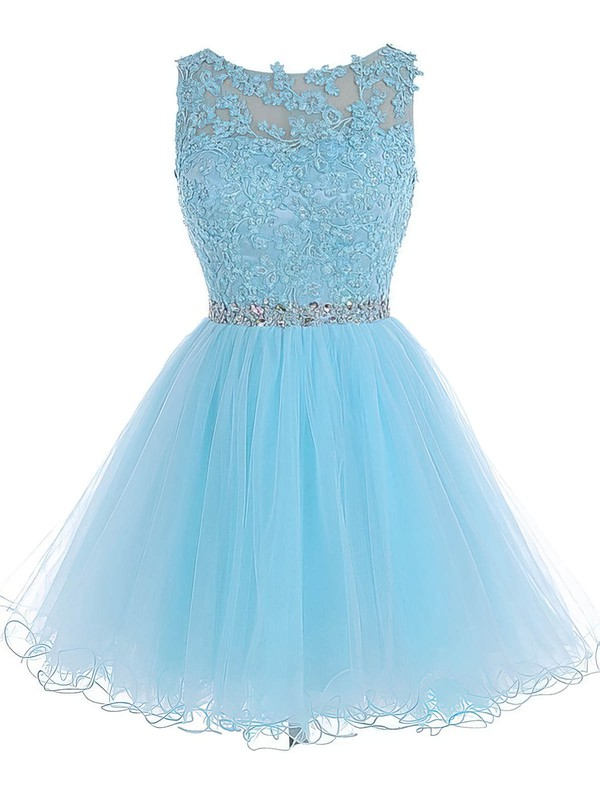 Princess Scoop Neck Short/Mini Tulle Prom Dresses with Appliques Lace Beading #Favs020102563