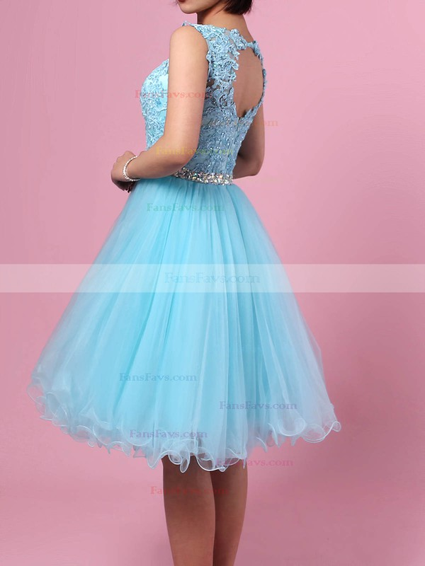 Sweet Princess Scoop Neck Tulle Short/Mini Beading Homecoming Dresses #Favs020102563