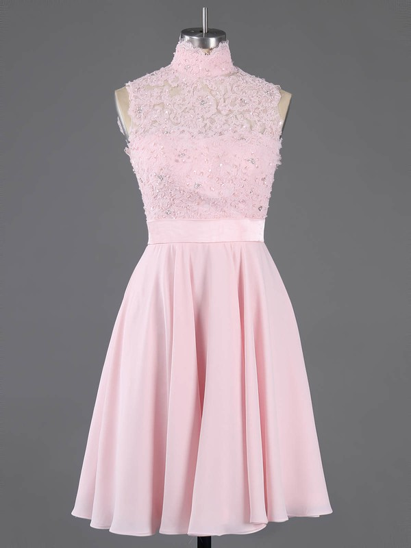 A-line High Neck Short/Mini Chiffon Prom Dresses with Appliques Lace Sashes #Favs020100684