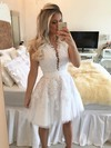 A-line Scoop Neck Tulle Short/Mini Appliques Lace White Classy Prom Dresses #Favs020102569
