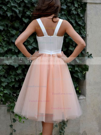 A-line Sweetheart Tea-length Tulle Prom Dresses with Ruffle #Favs020102578