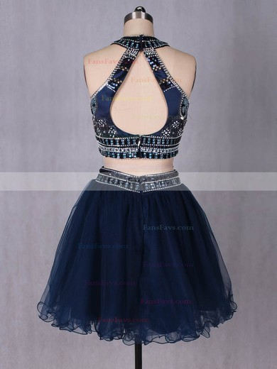 Two Piece A-line Scoop Neck Tulle Short/Mini Beading Cute Prom Dresses #Favs020102580
