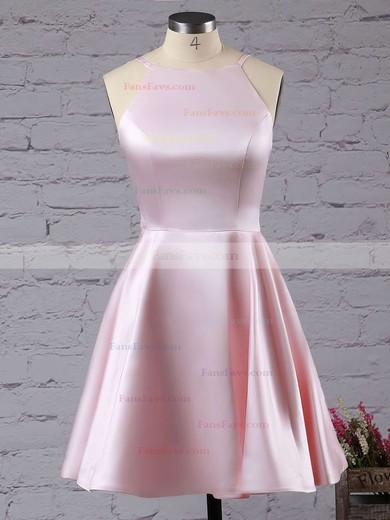 A-line Scoop Neck Satin Short/Mini Prom Dresses #Favs020102594