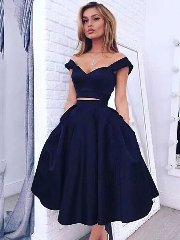 A-line Off-the-shoulder Tea-length Satin Prom Dresses with Ruffle #Favs020102596