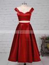 A-line Off-the-shoulder Satin Tea-length Pockets Prom Dresses #Favs020102596