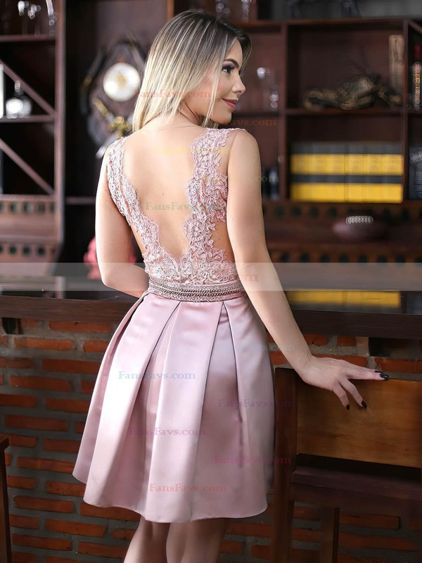 Sexy A-line Scoop Neck Satin Tulle Appliques Lace Short/Mini Prom Dresses #Favs020102671