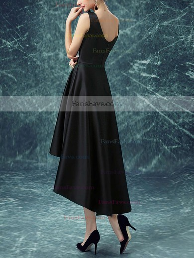A-line Scoop Neck Asymmetrical Satin Prom Dresses with Ruffle #Favs020103168