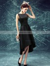 A-line Scoop Neck Satin Asymmetrical Prom Dresses #Favs020103168