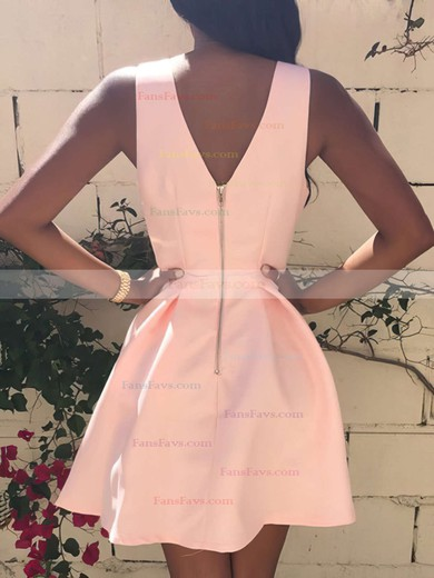 A-line V-neck Short/Mini Satin Prom Dresses with Ruffle #Favs020103512