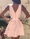 A-line V-neck Satin Short/Mini Prom Dresses #Favs020103512