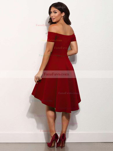 A-line Off-the-shoulder Asymmetrical Satin Prom Dresses with Ruffle #Favs020103520