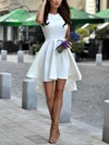A-line Scoop Neck Asymmetrical Satin Prom Dresses with Ruffle #Favs020103521