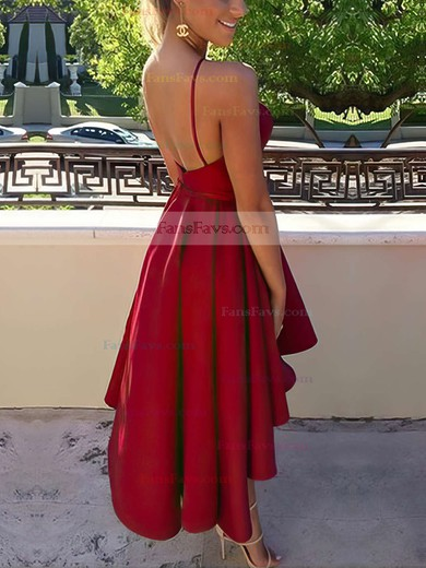 A-line Scoop Neck Satin Asymmetrical Prom Dresses #Favs020103694