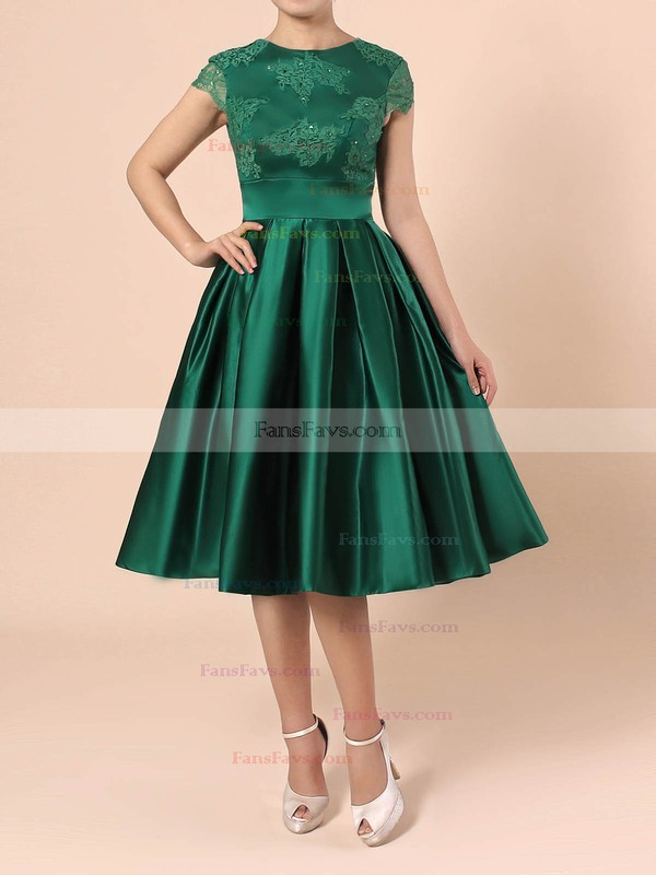 Casual A-line Scoop Neck Satin Tulle Knee-length Appliques Lace Backless Short Sleeve Prom Dresses #Favs020103716