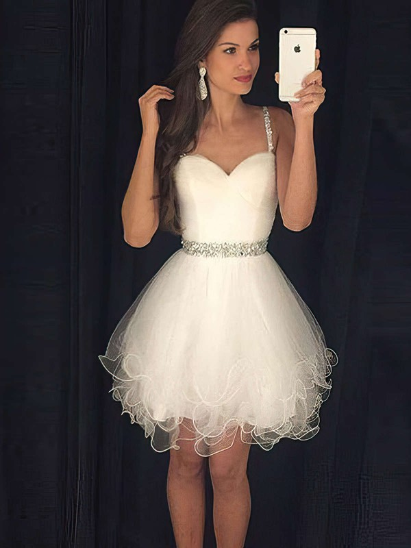 A-line Sweetheart Short/Mini Tulle Prom Dresses with Beading #Favs020103722