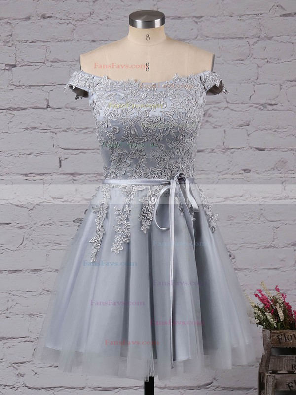 A-line Off-the-shoulder Satin Tulle Short/Mini Sashes / Ribbons For Cheap Prom Dresses #Favs020103756