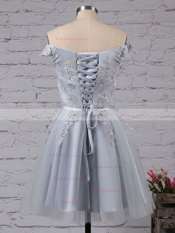 A-line Off-the-shoulder Short/Mini Satin Tulle Prom Dresses with Sashes Appliques Lace #Favs020103756