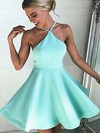 A-line Halter Short/Mini Satin Prom Dresses with Ruffle #Favs020103769