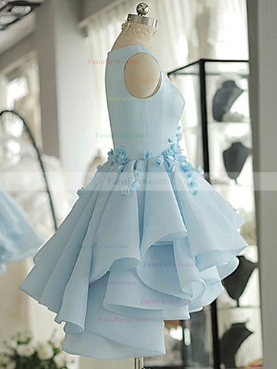 A-line Scoop Neck Short/Mini Satin Tulle Prom Dresses with Beading Flowers #Favs020103777