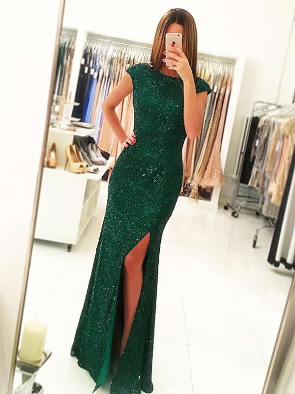 Sheath/Column Scoop Neck Floor-length Sequined Prom Dresses with Split Front #Favs020102920