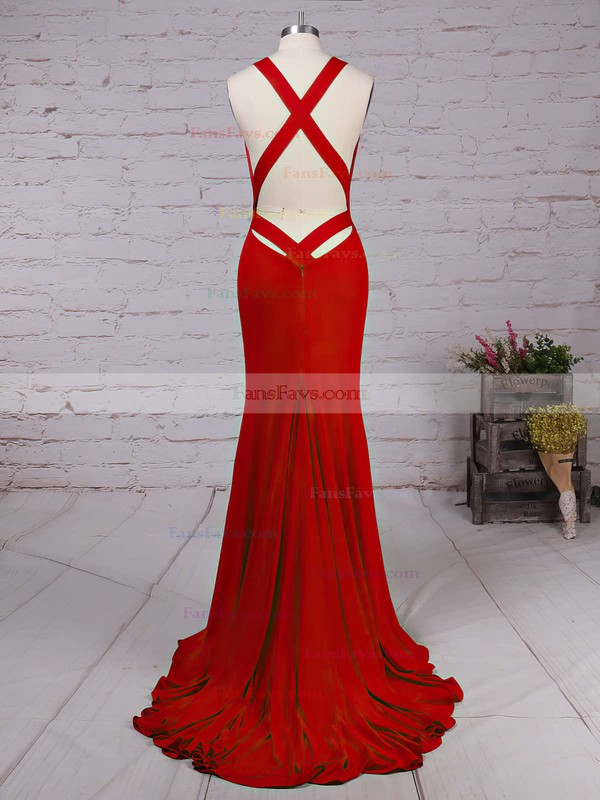 Trumpet/Mermaid V-neck Jersey Sweep Train Prom Dresses #Favs020104522