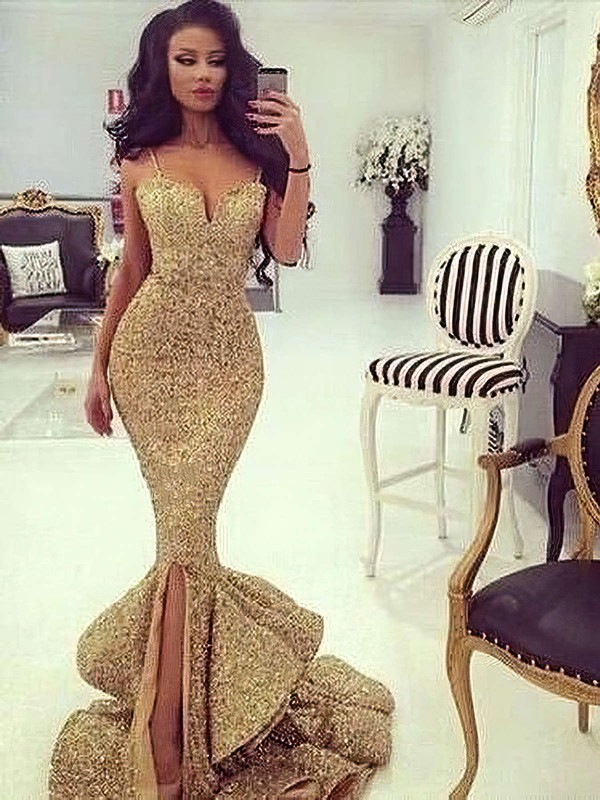 Trumpet/Mermaid V-neck Sequined Sweep Train Split Front Prom Dresses #Favs020103699
