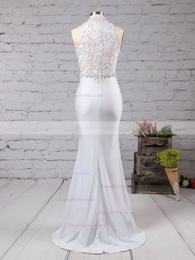 Trumpet/Mermaid High Neck Lace Jersey Sweep Train Beading Prom Dresses #Favs020104545